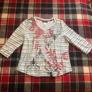 🔥2/$30 KAREN SCOTT Striped floral Top